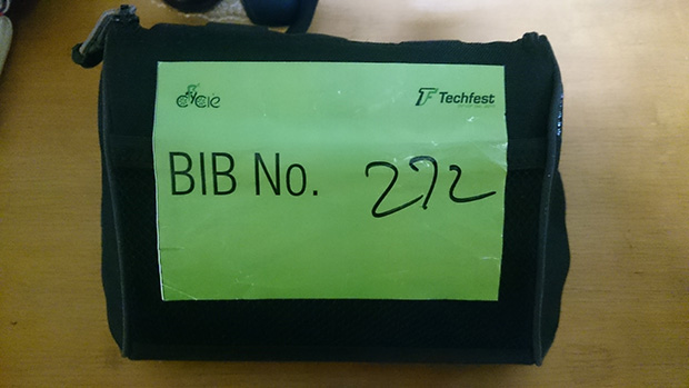 The Bib Number Sticker given by IIT Powaii students at the entrance