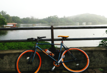 Firefox Flip Flop. A fixie docked against the rails adjoining the Powaii lake in the background.